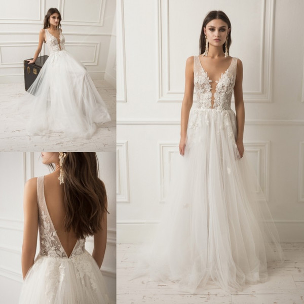 lihi hod 2019 Beach Wedding Dresses A Line Boho Sheer V Neck Bridal Gowns Backless robe de mariée Lace Appliqued Long Wedding Dress