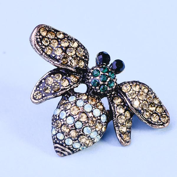 Creative fashion brooch retro new rhinestone brooch Europe and America bee brooch pin jewelry wholesale