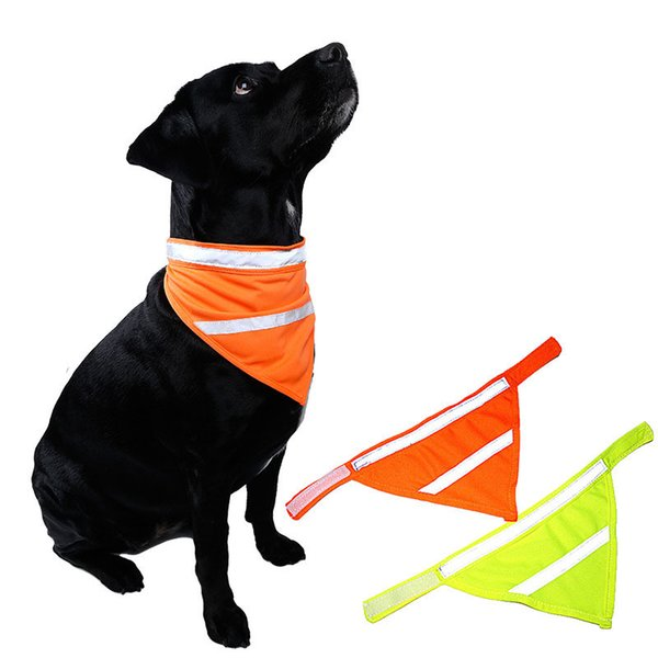 Free Shipping 1pcs Pet Dog Scarf Collar Bib Bow Tie Puppy Fluorescent Bibs Neckband Neckerchief Pet Triangular Bandage Reflective