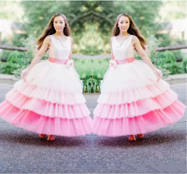 Gorgeous White And Pink 4 Layers Flower Girl Dresses For Wedding Crew Sleeveless Tiered Girls Pageant Gowns With Handmade Flower Ribbon Sash