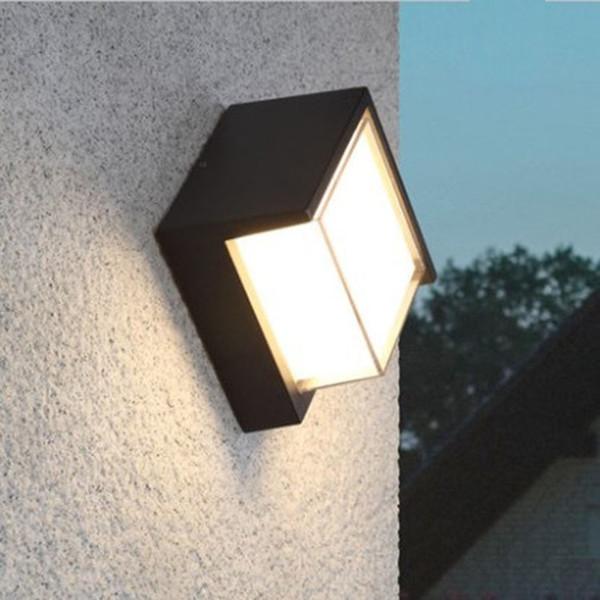 Lampada da parete 10W Lampada da parete per esterni Lampada da parete moderna Applique da esterno Lampada da tavolo in alluminio grigio scuro Impermeabile rotonda e quadrata