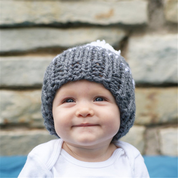 Fashion Baby Girls Crochet Woolen Yarn Hats Kids Hand Made Knitting Warm Caps Earflap Autumn Winter Beanie Ear Warmer with hair bulb BH20