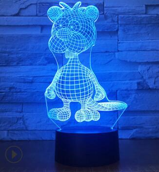 Manufacturer wholesale colorful intelligent table lamp creative gift lamp touch remote control 3d visual lamp new