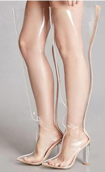 2018 Moda PVC Transparente Ponto Toe Coxa Botas Altas Zipper Salto Quadrado Venda Quente Mulheres Botas De Salto Alto Boate Senhora