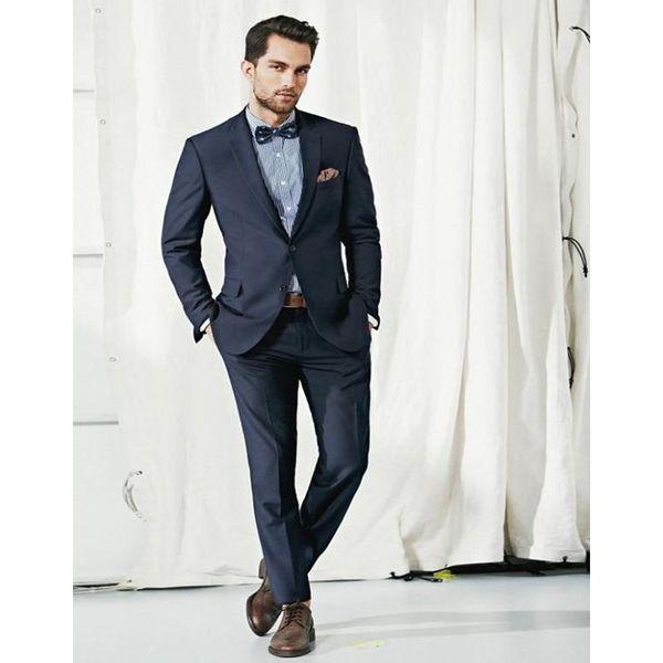 Navy Blue Groom Tuxedos Notched Lapel Wedding Suits For Men Formal Men Suits Slim Fit 2 Pieces Men Wedding (jacket+pants)