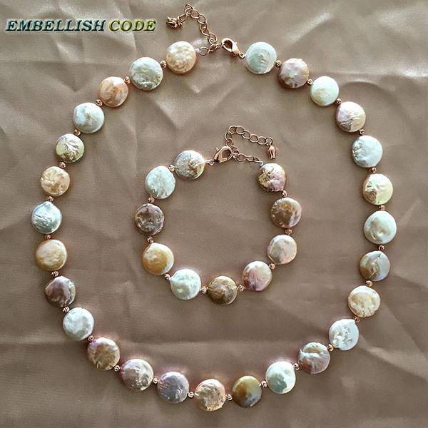 collana di dichiarazione barocca choker collana braccialetto misto colore rotondo moneta forma piatta reale perle d'acqua dolce perle rosse d'oro 3mm
