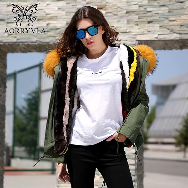 AORRYVLA Real Fur Parka For Women Winter 2017 Army Green Large Raccoon Fur Collar Hooded Short Coat Rabbit Liner Warm Jacket