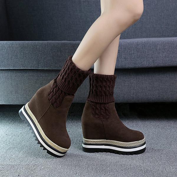 2018 Nouvelle mode hiver bottes neige bottes hautes chaussures à talons plats femme