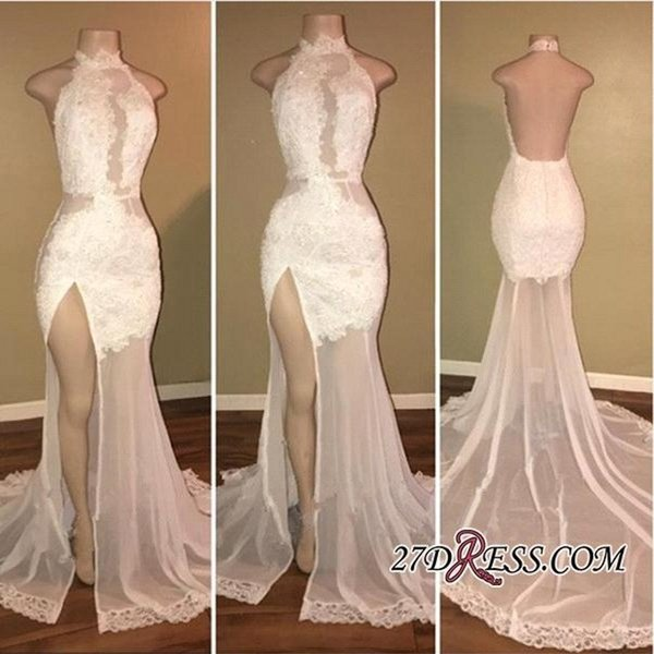 White Sheer Split Side Lace Chiffon Prom Dresses 2018 High Neck Mermaid Open Back With Applique Bead Party Evening Dresses BA8228