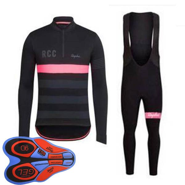 Pantaloncini con bretelle in jersey manica lunga ciclismo squadra RAPHA Abbigliamento bici Asciugatura rapida Bicicletta Abbigliamento sportivo Ropa Ciclismo 100809F
