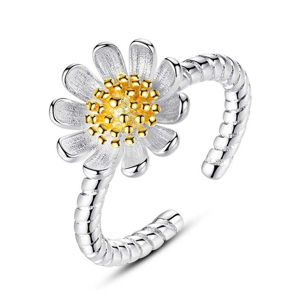 Gold Silver Flower Daisy Ring Open Adjustable Ring Twist Ring Fashoin Women Jewelry Gift Drop Shipping