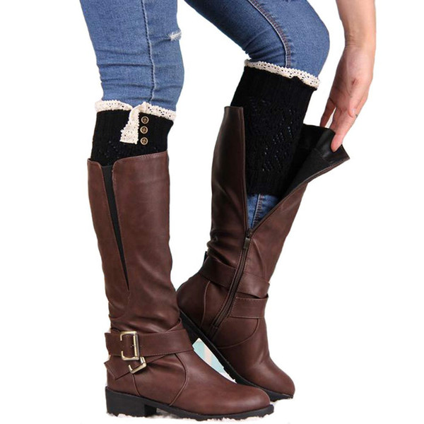 2017 Fashion Winter Frauen Beinlinge Spitze Stretch Boot Beinmanschetten Boot Socken Weibliche Socke 1 Para