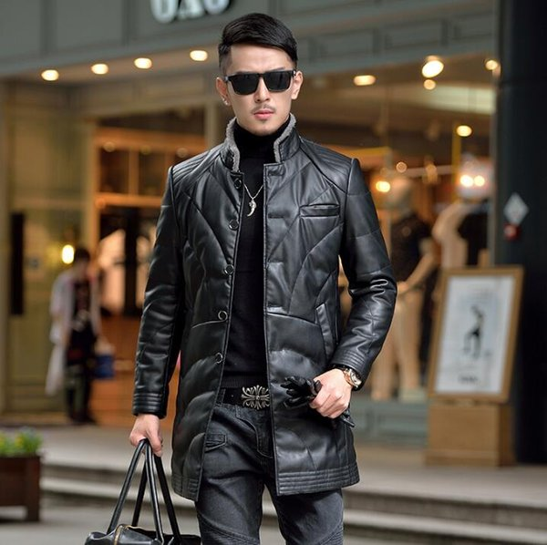 2018 new leather down jacket male Long Windbreaker Slim Korean Coat stand collar Business casual Winter jacket for men tide