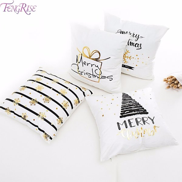 FENGRISE Merry Christmas Pillow Case Christmas Ornaments Navidad Christmas Decoration For Home Happy New Year 2019 Xmas 2018 D18110504