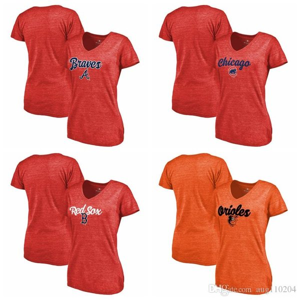purchase cheap c4797 3ee86 2019 Chicago Cubs Boston Red Sox Baltimore Orioles Atlanta Braves Women'S  Freehand V Neck Slim Fit Tri Blend T Shirt Red Orange From Qw110209, $17.77  ...