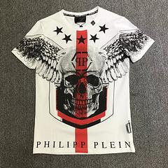 2018 Hombres Camisetas Moda Vudú Cráneo Diseño Manga corta Casual Tops Hipster Flor Cráneo Impreso Phillip Llanura Camiseta Cool Tee