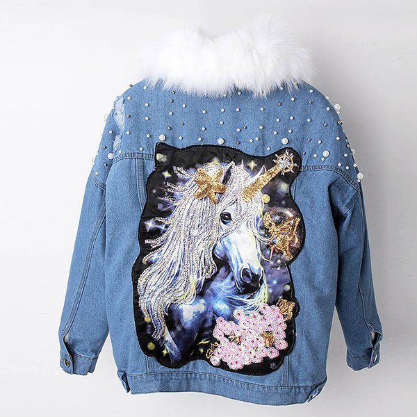 Real Fur Coat, Diamonds Cowboy Jacket, Pony Embroidery, White Raccoon Liner, Pie Overcome, Short Dress Free Shipping