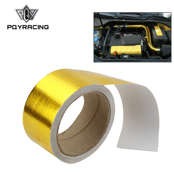 """top popular PQY RACING - 2""""x5 Meter Aluminum Reinforced Tape Adhesive Backed Heat Shield Resistant Wrap Intake Gold ,Silver PQY1613 2021"""