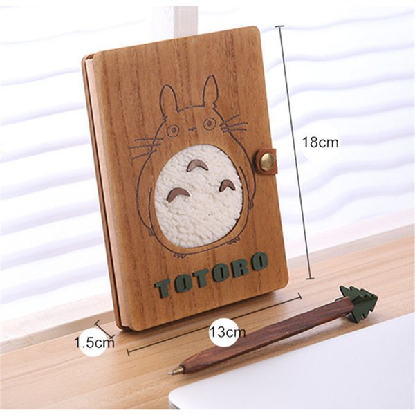 Totoro Wooden NotSet Anime Ballpoint Not With Pen NotSet Diary Day Journal Stationery School Supplies 18cm