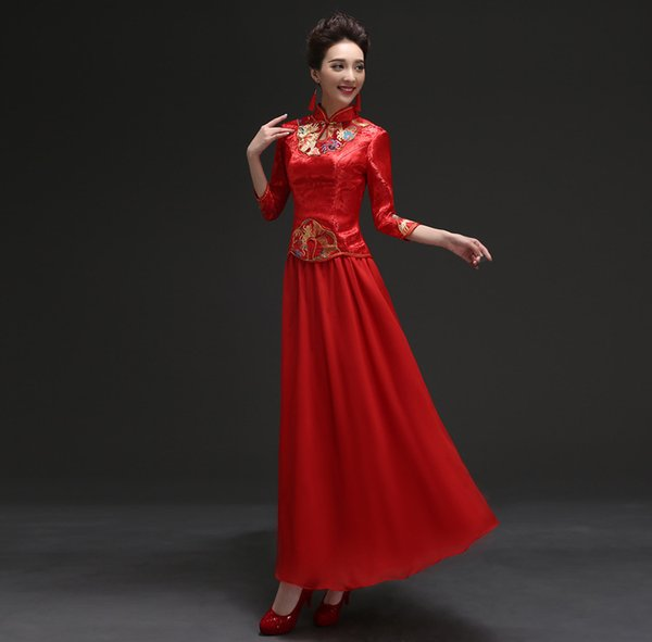 2018 Hot Chinese Style Bridery Wedding Long Embroidered Qipao Bride Wedding Toast Two Sets of Red High-end Cheongsam Mujer Vestidos Boda