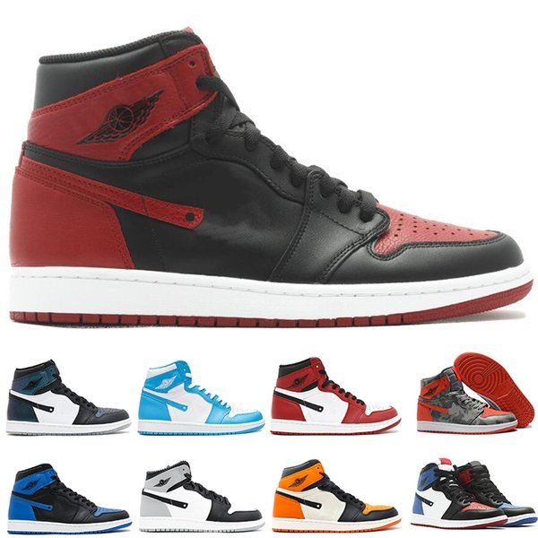 2018 1 Top 3 Mens Basketball Shoes Wheat Gold Bred Toe Chicago Banned Royal Blue Fragment UNC HOMAGE TO HOME New Love City Of Flight US 7-13