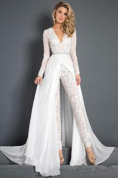 2019 White Prom Dresses Lace Jumpsuit With Detachable Chiffon Train Modest V Neck Appliques Beads Long Sleeve Belt Evening Gowns