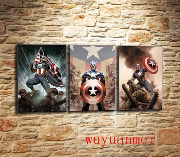 Captain America , 3 Pieces Home Decor HD Printed Modern Art Painting on Canvas (Unframed/Framed)