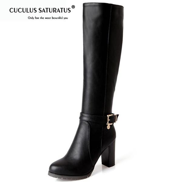 Cuculus Heißer Verkauf Mode weichen PU Leder High Heels Knie hohe Stiefel Schnalle Boote Frauen Motorrad Stiefel Herbst Winter Schuhe 1475