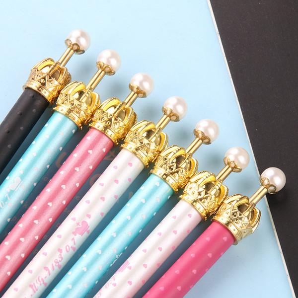 (1pcs/Hot Sell) 0.7mm Cute Kawaii Pearl Golden Crown Ball Ballpoint Pens Ballpen For Office School Writing Supplies Stationery