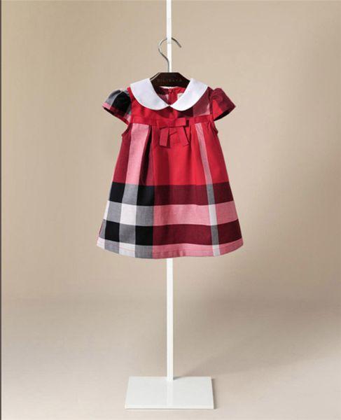 2019 ropa para niños falda a cuadros coreanos manga corta arco solapas vestido de las niñas