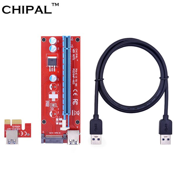 CHIPAL Red 100CM PCIE PCI-E 1X to 16X Riser Card Extender PCI Express Adapter with USB 3.0 Data Cable + 15Pin SATA Molex Power