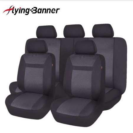 Full Set Auto Sitzbezug Universal Mode Jacquard Gestrickte Auto Sitzbezüge Autoinnenausstattung Schwarz / Grau / Beige Farbe