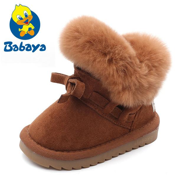 b0fe673d a menudo zapatos para niños Botas de invierno para niñas Botas de nieve de  cuero genuino