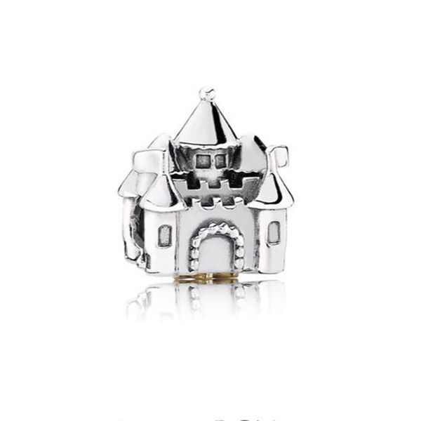 Authentic 925 Silver Beads Sterling Silver Castle Charm Fits European Style Jewelry Bracelets
