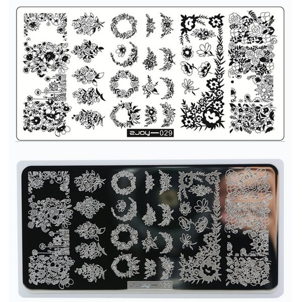 2018 ZJOY 029 1Pc Lace Flower Pattern Stainless Steel Beauty Plate For Stamping DIY Nail Stamping Image Printing Plates