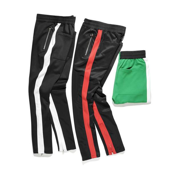 Новый черный красный зеленый цвет туман стиль тренировочные брюки мужчины хип-хоп Slim Fit двойной полосатый трек грузовые брюки для гусеничные ноги Zip старинные бегуны