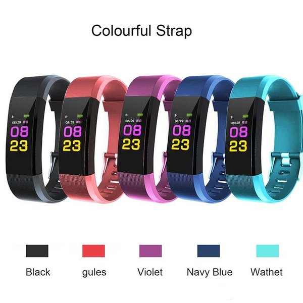 best selling Newest ID115 Plus Smart Band Bracelet Color LCD Screen Fitness Tracker Pedometer Heart Rate Blood Pressure Monitor Bands Wristband