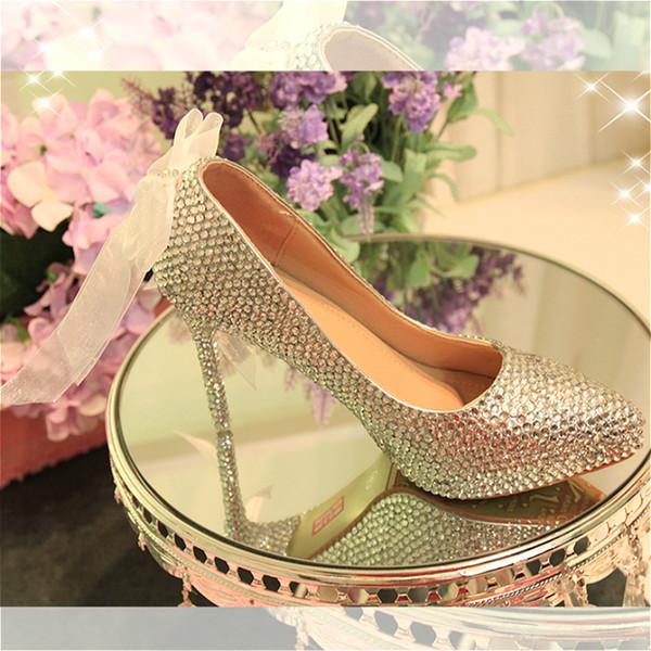 Bayan Düğün Gümüş Kristal Ayakkabı Şerit Yay Bling Sivri Burunlu Ayakkabı Nedime Yüksek Topuk Platformu Parti Ayakkabı Bayanlar Pompaları