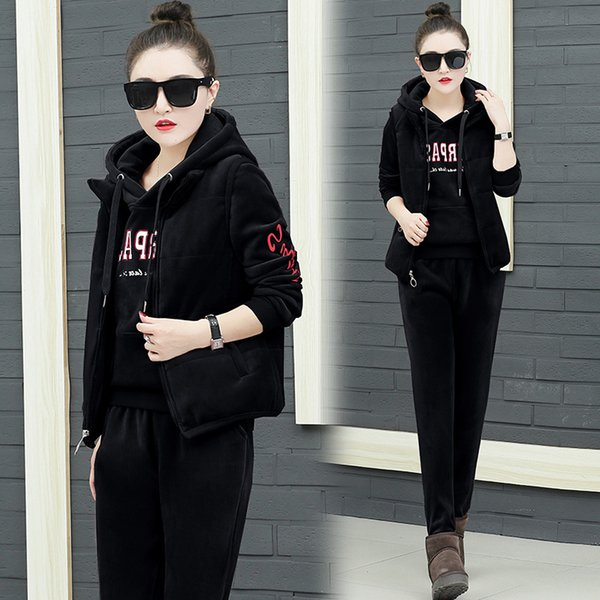 3PCS Women Tracksuit Sportswear Winter Fleece Velvet Coat Hoodies Sweatshirt+pants+vest Running Jogging Leisure Warm Sport Suit