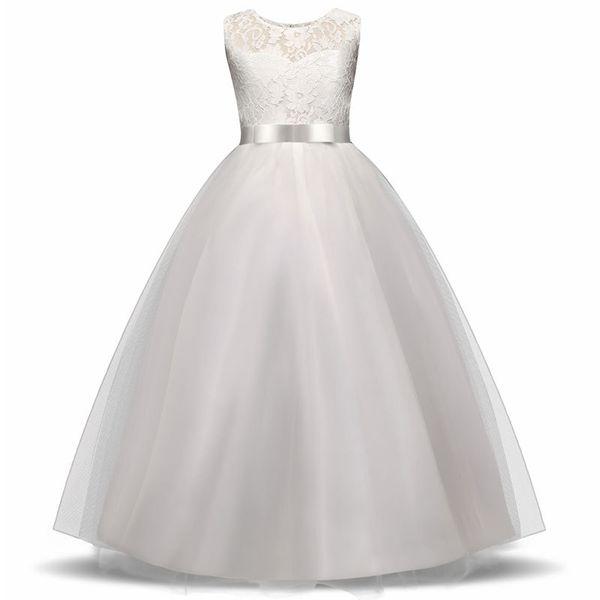 Festa de casamento meninas flor menina vestido de dama de honra roupas para vestidos de casamento princesa menina adolescente branco vestidos de noite de tule