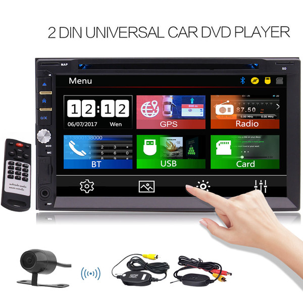Free Wireless Rear Camera Include! Car DVD Stereo Bluetooth Double Din 7'' Touch Screen LCD Radio for Car GPS Navigation Support DVD/CD