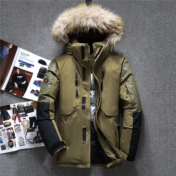 2019 Winter Big Genuine Fur Hooded Duck Down Jackets Men Warm High Quality Down Coats Male Casual Winter Outerwer Down Parkas JK-1798