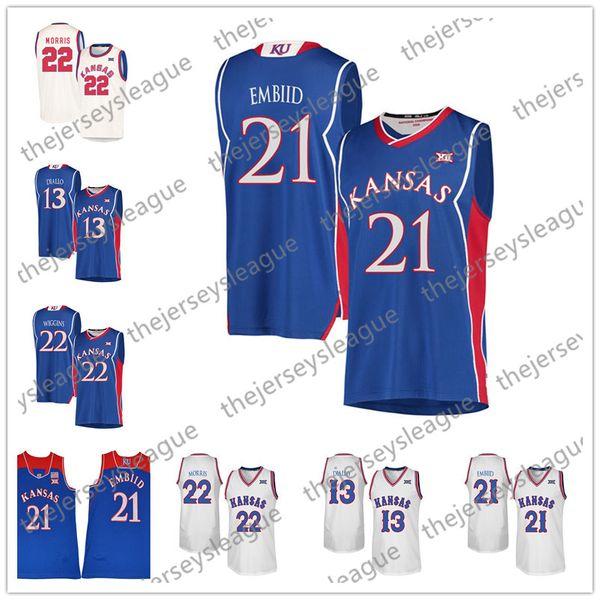 Kansas Jayhawks #21 Joel Embiid 22 Andrew Wiggins 13 Blue White Cream Retro Good Quality Stitched NCAA College Basketball Jerseys