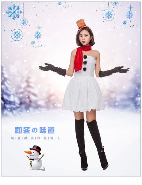 2018 new hot sexy tight red Christmas dress women's Christmas costume cute sweet white snowman party party clothes