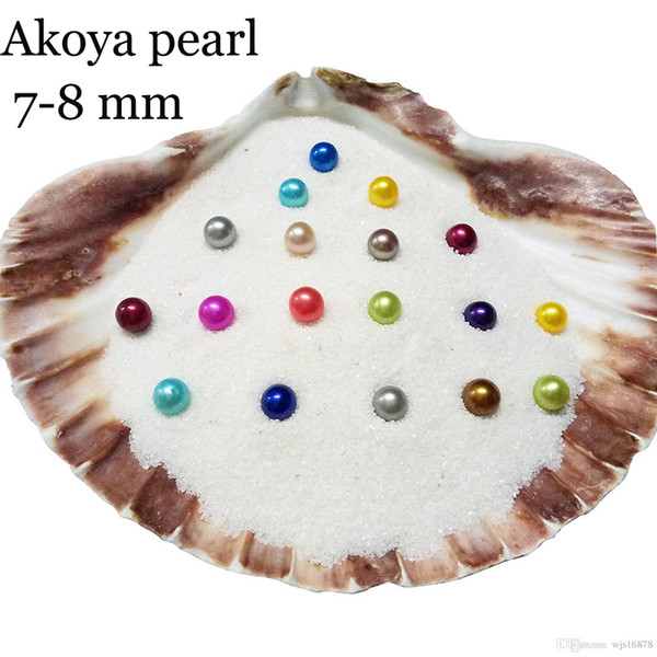 Wholesale 2018 DIY 7-8mm round Oyster Pearl 25 mix color freshwater Natural pearl Gift DIY Loose Decorations Vacuum Packaging