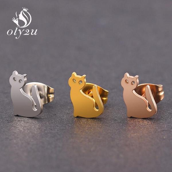 Oly2u Kpop Coreano Moda Gatos Bonitos Pequenos Brincos de Aço Inoxidável Brincos Para As Meninas Da Orelha Studs Homem Mulheres Jóias Presente Elegante