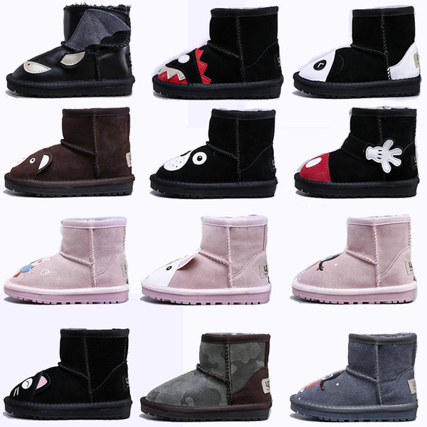 Original WGG Child Boots Shoes Animal Designer Snow Boot Shoes Australian Classic Woolen For Boy Girl Leather Warm Little Feet
