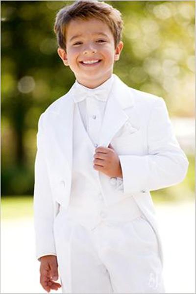 Nouveau style personnalisé blanc enfant costumes garçon costume de mariage usure formelle du garçon (veste + pantalon + cravate + gilet) 608