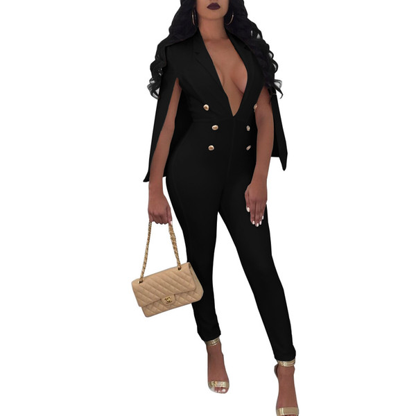 NEW White One Piece Jumpsuit Fashion Bodycon Long Pants Rompers With Cape Cloak Romper Woman Overalls EleParty Jumpsuits