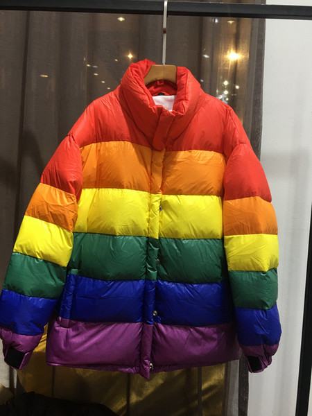 Women's down jacket 2018 new European and American fashion show men and women M collar Rainbow Striped down jacket bread long loose money